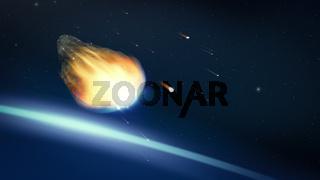 glowing asteroid in deep space