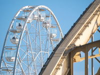 Ferris Wheel and Kossuth Bridge in Győr, Hungary