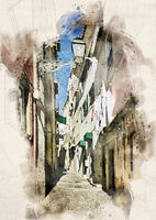 Watercolor Streets of Lisbon