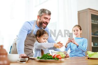 Family of Food Bloggers Preparing Salad
