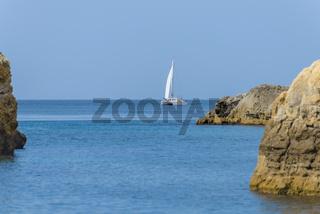 White sailing yacht
