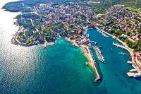 Krk. Idyllic Adriatic island town of Krk aerial view