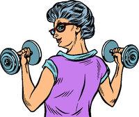 fitness dumbbells sport activity Woman grandmother pensioner elderly lady