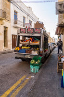 La Vallette,Malte,Europe-30/11/2019.Small truck filled with vegetables and fresh fruits for sale