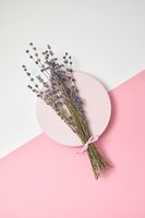Greeting card with lavender bouquet on a round plate.