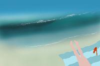 Sandy summer beach illustration