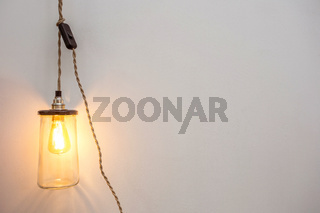 Beautiful retro luxury interior bulb lighting lamp decor glowing in a modern home background texture