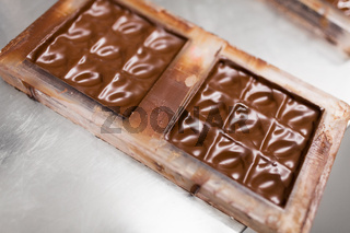 chocolate in candy mold at confectionery shop