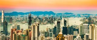 Hong Kong skyline at sunset. Panorama