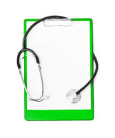 Medical clipboard and stethoscope