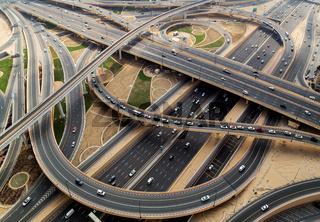 Dubai aerial view of highway