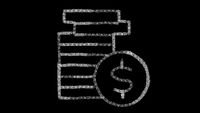 coin icon designed with drawing style on chalkboard, animated footage ideal for compositing and motiongrafics