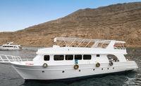 Sinai mountains Red Sea White yachts Egypt, Africa.