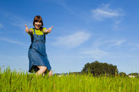 Happy woman on nature