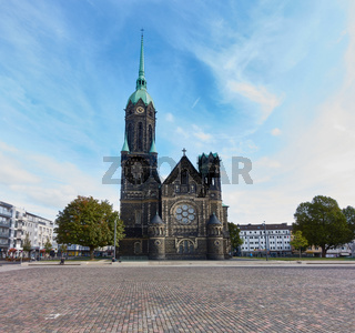 MOENCHENGLADBACH-RHEYDT, GERMANY - OCTOBER 13, 2016: Panoramic view on the new market place and the old church of Rheydt