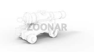 3d rendering of an ancient canon isolated in studio background