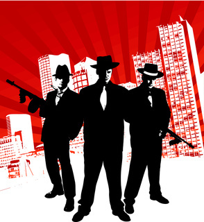 Mafia boss with machine gun stands in front of skyline of a city with design elements in the background