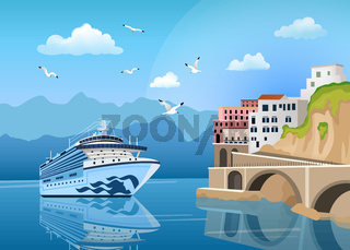 Landscape with cruise ship near coast with buildings and houses, tourism