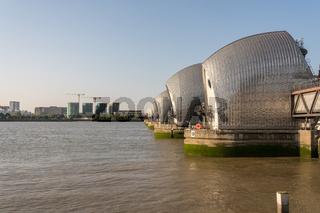 Thames barrier across river in Greenwich
