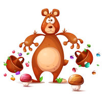 Funny, cute, crazy bear collects berries. Cartoon illustration.