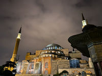 Ayasofya Museum, Hagia Sophia in Sultan Ahmet park in Istanbul, Turkey October 25, 2019 in a beautiful summer night scene and street lights. Ayasofya, outside at night with minaret