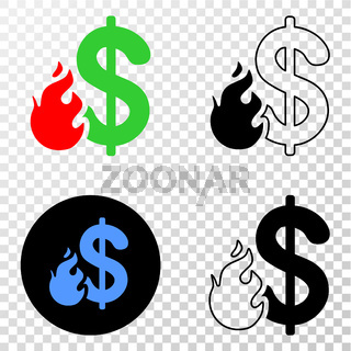 Dollar Fire Vector EPS Icon with Contour Version
