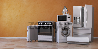 Set of household kitchen technics on yellow background. Set of appliance in the new appartments. E-commerce online internet store and delivering of appliances concept.
