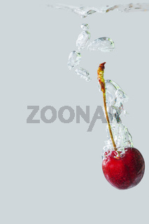 Cherry falling in the water right side