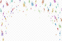 Colorful streamers and confetti vignette on transparent background
