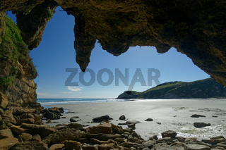 View from a cave with stalactites, west coast, New Zealand.