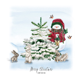 Watercolor Christmas Tree with snowman, bunny, lamp and gift. Holiday Decoration Print Design Template. Handdrawn card with text - Merry christmas and happy new year.