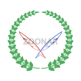 Red Blue Feathers and Green Laurel Icon Isolateed on White Background