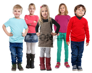 Gruppe Kinder kleine Junge Mädchen isoliert Freisteller freigestellt