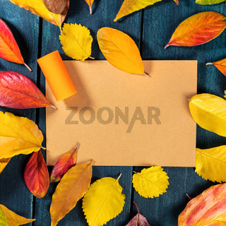 Autumn wine design template with a wine cork on a brown kraft paper with vibrant fall leaves forming a frame for text and logo, on a dark rustic wooden background