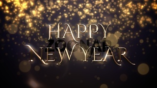 White snowflake falling and closeup Happy New Year text