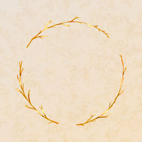 Golden detailed branches wreath on beige paper