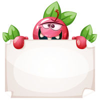 Cartoon funny apple with paper banner