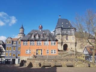 Rathaus, Hexenturm, Bergfried, Das Schiefe Haus, Altstadt, Idstein
