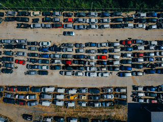 Aerial view of the big car dump