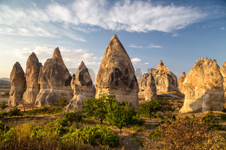 Rock formations called fairy chimneys. Cappadocia, Turkey