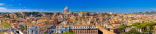 Rome rooftops and Vatican city landmarks panoramic view