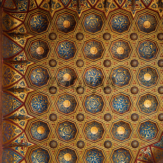 Golden floral pattern decorations of ceiling of Mausoleum of Sultan Qalawun, Medieval Cairo, Egypt