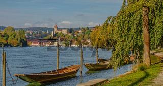 Blick zum Munot, Hochrhein bei Schaffhausen, Schweiz