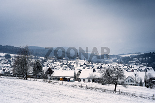 Winter landscape in the german Rothaargebirge with view to the german city called Hallenberg