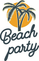 Beach party.  emblem with palms. Design element for logo