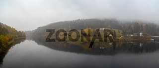 Panoramic view of the Elbe river and the surrounding mountains - Giant Mountains (Krkonose). Small town of Spindleruv Mlyn and Labska village. Czech Republic.