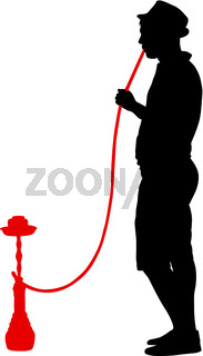 Silhouette of a man smoking a hookah standing beside him