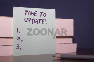 Text sign showing Time To Update. Conceptual photo act updating something someone or updated version program Close up three wooden different sizes rectangle boxes paper sheet pencil.