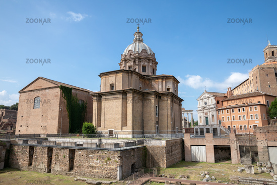 Panoramic view of forum of Caesar also known as forum Iulium