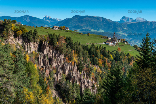 Detailed picture of the famous earth pyramids near Ritten in South Tyrol